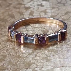 Stamped Jewelry - Purple Amethyst, Blue Topaz Yellow Gold Band Ring